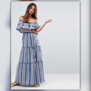 ASOS Off Shoulder Striped Mexican Style Maxi Dress